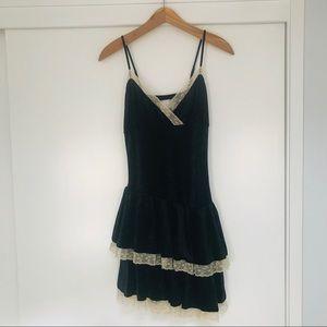 213 Velvet Dress with Lace & Ruffled Bottom. Sz S
